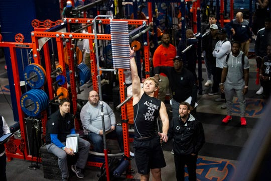 Auburn wide receiver Will Hastings (33) records his vertical during Auburn Pro Day at Auburn Athletic Complex in Auburn, Ala., on Friday, March 6, 2020.