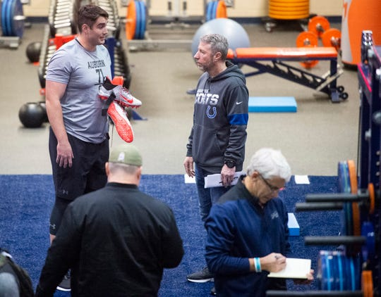 Auburn offensive lineman Jack Driscoll (71) talks with scouts during Auburn Pro Day at Auburn Athletic Complex in Auburn, Ala., on Friday, March 6, 2020.