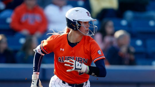Auburn's Alyssa Rivera (21) runs to first during an NCAA college softball game against Minnesota Saturday, Feb. 29, 2020, in Auburn, Ala.