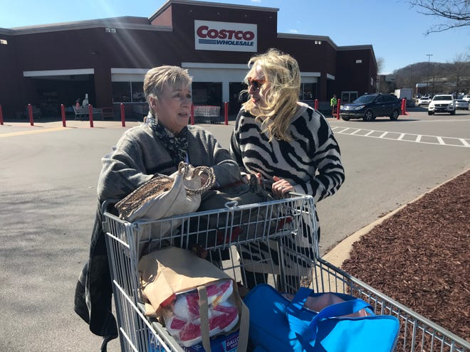 Nancy Harris and her daughter Kelsey Walny made a shopping trip to Costco Wholesale in Brentwood, located on Seaboard Lane, bordering Cool Springs. They said they found everything they needed but were concerned about tornado victims getting the items they need as area stores filled with shoppers.