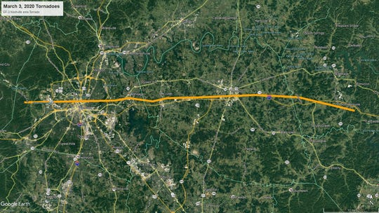 One of four tornadoes to hit Middle Tennessee, this EF-3 tornado with winds of 165 mph hit the Davidson, Wilson, and Smith counties area around 12:32 a.m. Tuesday, March 3, 2020. The tornado path was 60.13 miles long and 800 yards wide.