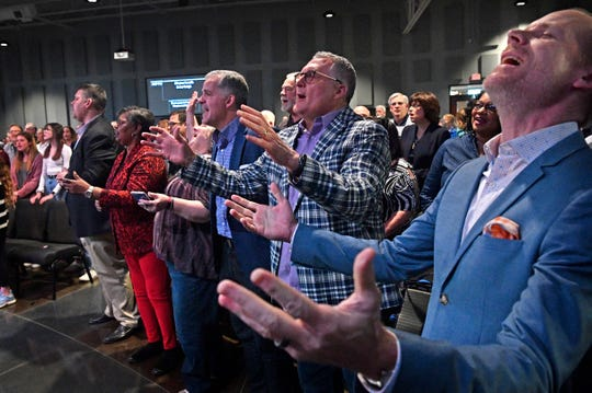 Pastors from around Wilson County worshiped with residents during one of two community prayer services at Providence United Methodist Church in Mt. Juliet, Tenn. Thursday, March 5, 2020.