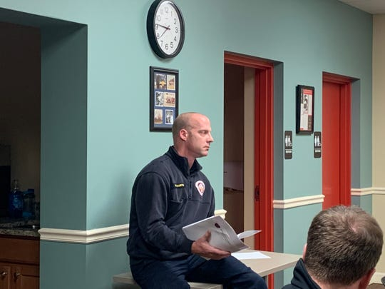At a Thursday, March 5, 2020 Refugee-Canyon Joint Fire District Board of Trustee meeting, Granville Township Fire Chief Casey Curtis holds a letter from Refugee-Canyon's attorney, David Comstock, offering a counter-proposal to Granville Township Trustees recent proposal for fire and EMS service compensation.