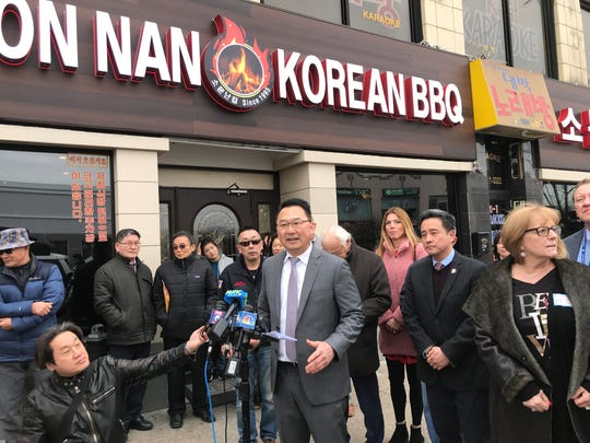 Palisades Park Mayor Chris Chung addresses the media about coronavirus in the borough on March 6, 2020.