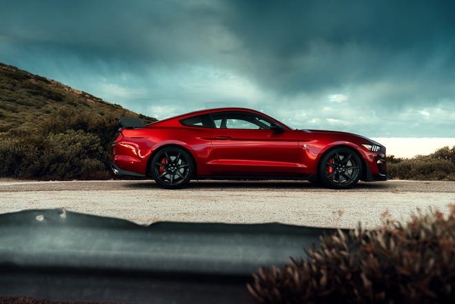 The Shelby GT500 boasts a 760-horsepower, 5.2-liter V8 engine with an Eaton supercharger that makes 625 pound-feet of torque, the twisting force that enables this Mustang to nail 60 miles an hour from rest in 3.3 seconds, according to the manufacturer's specifications.
