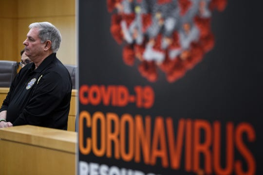 Bergen County Executive James Tedesco during a press conference about the COVID-19 virus in theHackensack Borough Hall on Friday March 6, 2020.