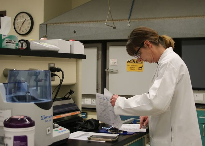 Chemist Donna Goreham reviews results at the New Mexico Department of Agriculture's State Chemist Laboratory in Las Cruces.