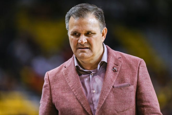 NMSU head coach Chris Jans stands on the sidelines as the New Mexico State Aggies face off against the Cal Baptist Lancers at the Pan American Center in Las Cruces on Thursday, March 5, 2020.