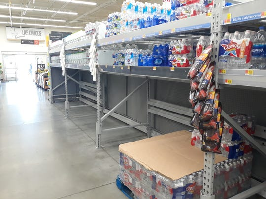 A portion of the bottled water aisle at the Walmart Neighborhood Market on Sonoma Ranch Boulevard is bare on Thursday, March 5, 2020.