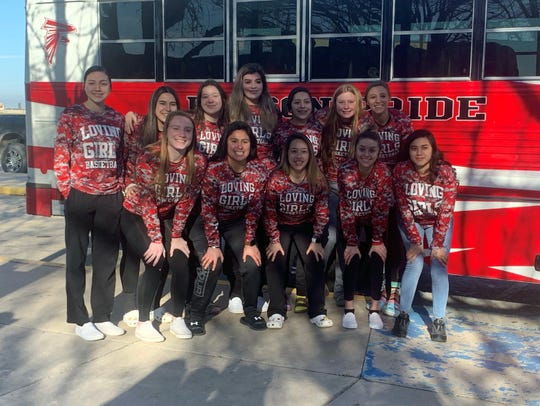 The Loving Lady Falcons load up to head to  Peñasco for their opening round game of the 2A New Mexico state basketball tournament on March 6, 2020. This is Loving's second consecutive year making it into the state tournament.
