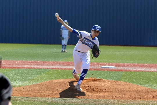 Maddux Edmonson throws his first varsity pitch against Ruidoso in the Caveman Classic on March 6, 2020. Edmonson pitched 3 2/3 scoreless innings leading the way for Carlsbad's 8-0 victory.