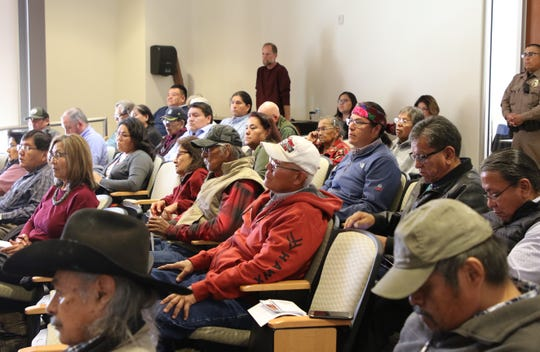 Several people attended a public hearing about uranium mining on March 5 Diné College's south campus in Shiprock. Comments collected from the hearing will be used by the Navajo Nation Council to form a position statement about uranium.