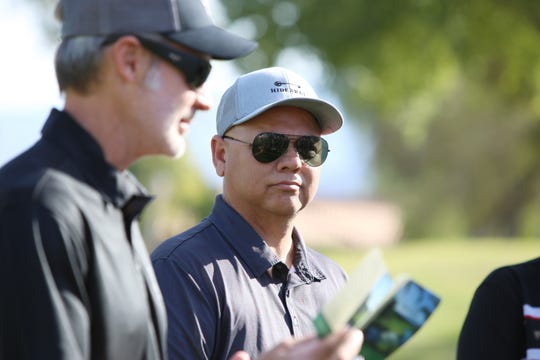 Palm Desert head coach Al Castro, right, and Shadow Hills head coach Greg Schuknecht talk on the Pete Dye Course at Westin Mission Hills in Rancho Mirage, Calif., on Thursday, March 5, 2020.