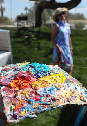 The palette of artist Delia Bradford at the La Quinta Art Celebration, March 5, 2020. The La Quinta Art Celebration is scheduled to return Nov. 11-14, 2021, at Civic Center Campus in La Quinta, after having been postponed from March due to the pandemic.