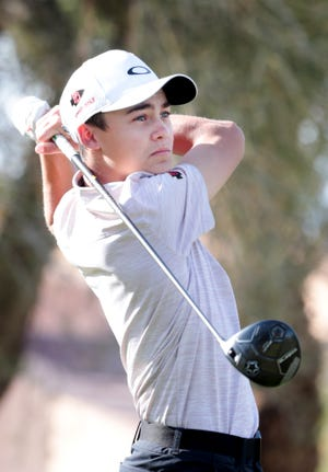 Palm Desert's Braden Bernaldo tees off on the Pete Dye Course at Westin Mission Hills in Rancho Mirage, Calif., on Thursday, March 5, 2020.