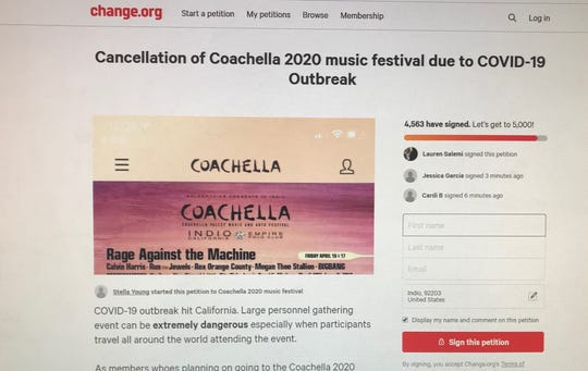 A petition on Change.org is circulating online to cancel Coachella Music and Art Festival because of the coronavirus outbreak.