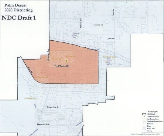 A draft map of suggested boundaries for Palm Desert's new two-district voting system. The maps, most of them submitted by citizens online, will be presented to the Palm Desert City Council for consideration on Thursday, March 12, 2020.