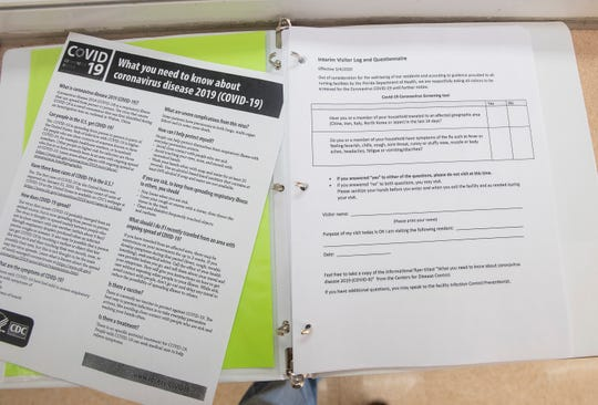 The Sandy Ridge Health and Rehabilitation Center in Milton is asking visitors to fill out questionnaires about whether they have traveled in the past 14 days or if they have symptoms that could be indicative of the coronavirus.