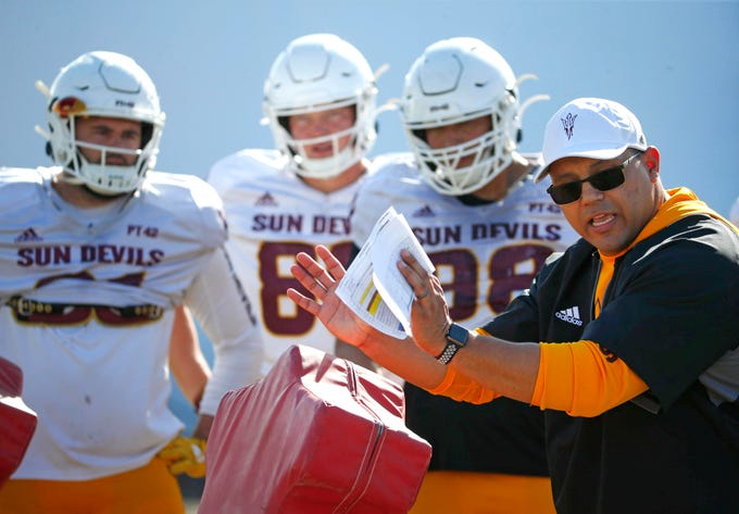 ASU assistant coach Robert Rodriguez, works the defensive line during spring football practice at Kajikawa Practice Facility in Tempe on March 6, 2020.