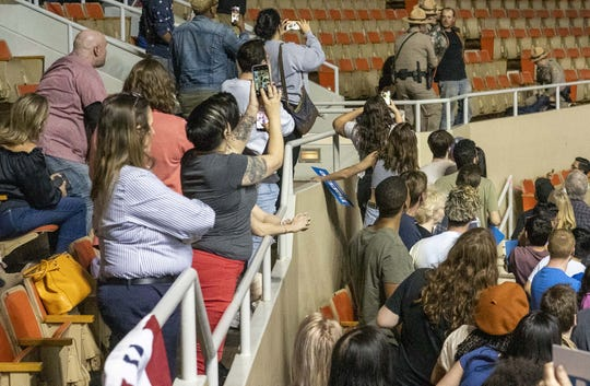 Protesters are stopped as Democratic presidential candidate Bernie Sanders speaks to his supporters at Arizona Veterans Memorial Coliseum in Phoenix on March 5, 2020.