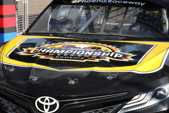 Closeup of the new logo for championship weekend at Phoenix Raceway in November 2020.