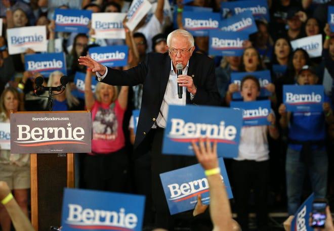 Democratic presidential candidate Sen. Bernie Sanders speaks at a campaign rally on March 5, 2020, at Veterans Memorial Coliseum in Phoenix, Ariz.
