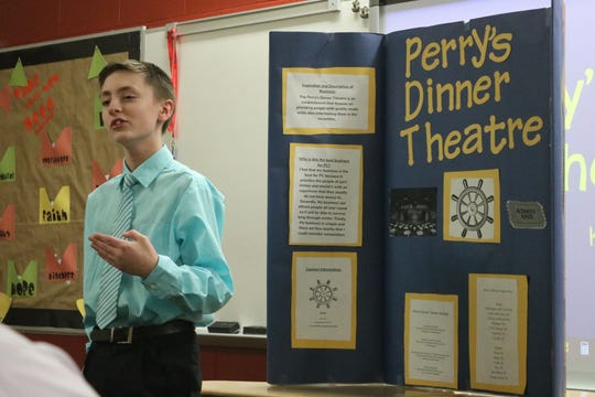 "Kain Hoyt created ""Perry's Dinner Theatre,"" a local business idea for Port Clinton Middle School's Young Entrepreneurs 2020."