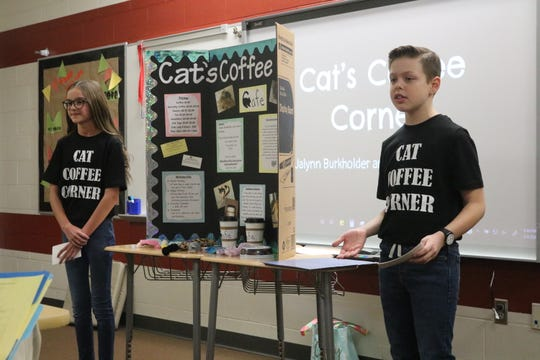 "Jalynn Burkholder and Lincoln Beasley created ""Cat's Coffee Corner,"" a local business idea for Port Clinton Middle School's Young Entrepreneurs 2020."