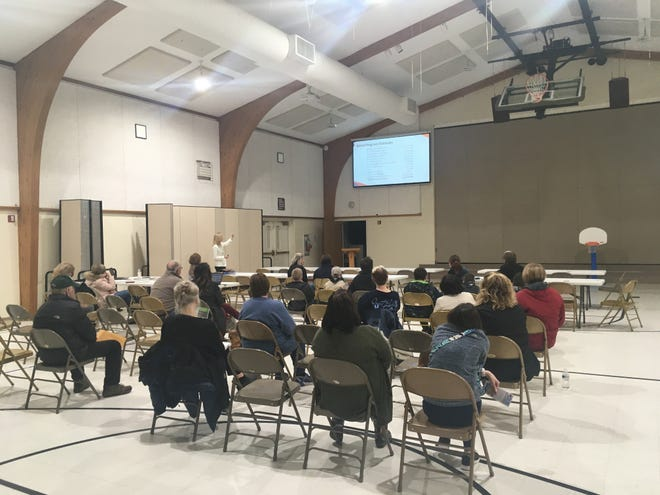 Residents gathered at Immanuel Lutheran Church on March 5, 2020, for a presentation on the district's upcoming bond proposal.
