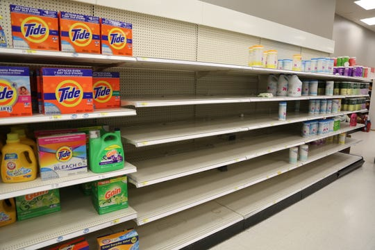 Bleach and disinfectant wipes were in short supply at Target in the Town of Poughkeepsie on March 6, 2020.