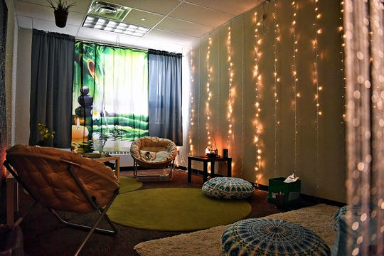 The Zen Den is just one feature offered by the Friends of Rachel Club at Northeastern Middle School in Manchester, Thursday, March 5, 2020. Students might use the space when feeling overwhelmed or anxious. Dawn J. Sagert photo
