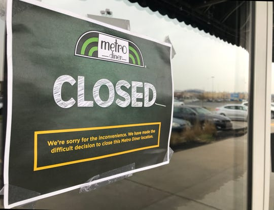 A closed sign was posted on the main entrance of Metro Diner at 360 Town Center Drive in West Manchester Township is closed. The restaurant closed on Wednesday, March 4, 2020.