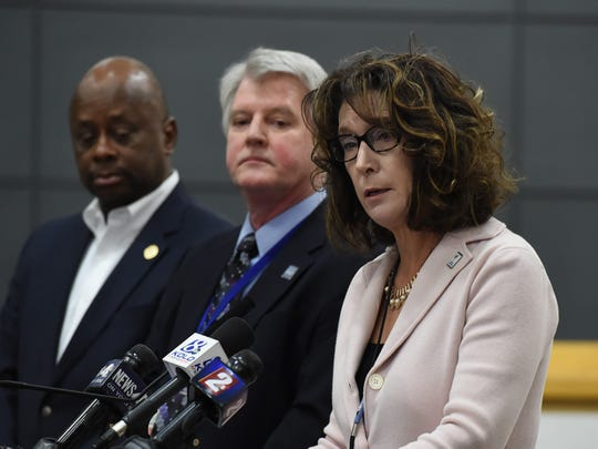 Interim superintendent Kristen McNeill, right, answers questions at the press conference on the Coronavirus case in the Reno on Friday March 6, 2020. Next to her is Washoe County District Health Officer Kevin Dick, center, and Washoe County Manager Eric Brown.