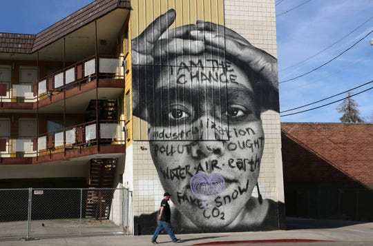 Murals are seen in and around downtown Reno in 2020.