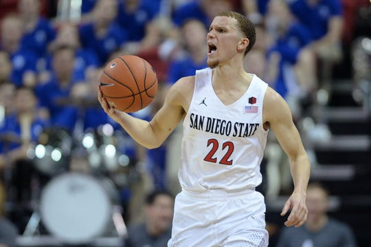San Diego State Aztecs guard Malachi Flynn (22) dribbles the ball during the second half of a Mountain West Conference tournament game against the Air Force Falcons at Thomas & Mack Center.