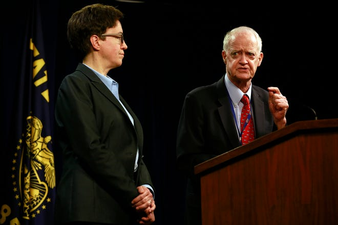 House Speaker Tina Kotek, D-Portland, (left) and Senate President Peter Courtney, D-Salem, speak to the media in the Oregon State Capitol Building, declaring the 2020 legislative session over on Thursday due to the Republican walkout.