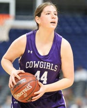 Mason High School's McKenzie Cano scored 13 points in the Cowgirls' 43-34 loss against Muenster in a Class 2A girls basketball state semifinal at the Alamodome in San Antonio on Friday, March 6, 2020.
