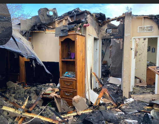 A Grape Creek house fire on March 4, 2020, destroys a family home.