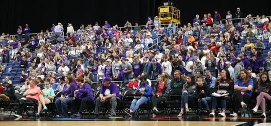 Mason High School basketball fans cheer on the Cowgirls during a Class 2A girls basketball state semifinal loss against Muenster at the Alamodome in San Antonio on Friday, March 6, 2020.