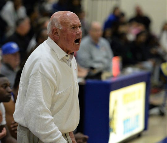 Wicomico head coach Butch Waller yells from the sidelines on Thursday, March 5, 2020.