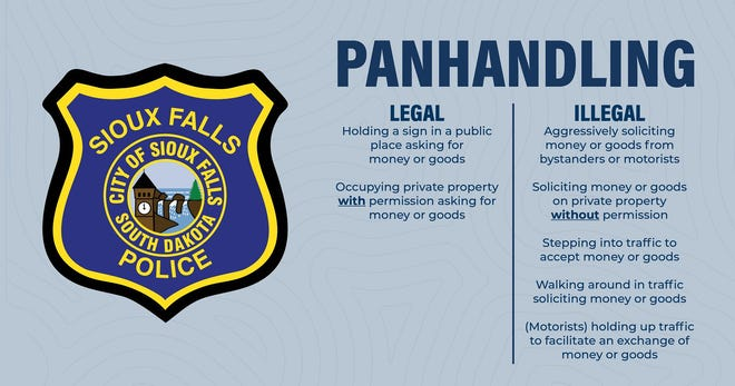 As spring approaches, Sioux Falls could see higher instances of road side soliciting, according to the Sioux Falls Police Department. The graphic above, originally posted to the department's Facebook page, shows what's legal and what's illegal for panhandling in the city.