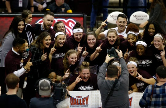 The Missouri State Lady Bears beat the Valparaiso Crusaders 85-70 to win the Missouri Valley Conference regular-season title at JQH Arena on Thursday, March 5, 2020.