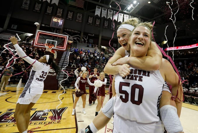 Emily Gartner and Elle Ruffridge celebrate the Lady Bears 85-70 win over Valparaiso to win the Missouri Valley Conference at JQH Arena on Thursday, March 5, 2020.