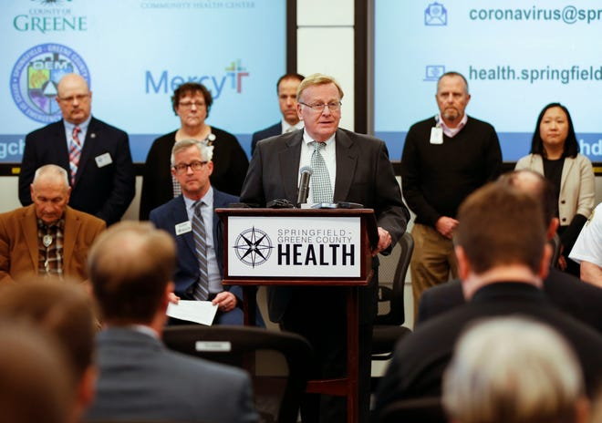 Springfield Mayor Ken McClure speaks at a press conference about the coronavirus on Friday, March 6, 2020.