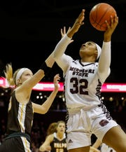 Missouri State forward Jasmine Franklin (32) takes a shot during the Lady Bears game against Valparaiso at JQH Arena on Thursday, March 5, 2020.