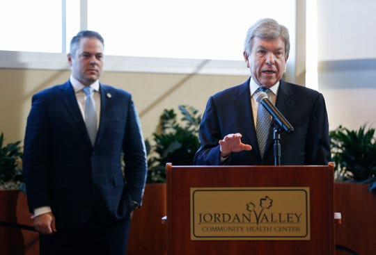 Sen. Roy Blunt speaks at a press conference at Jordan Valley Community Health Center on Friday, March 6, 2020 about the coronavirus response efforts.