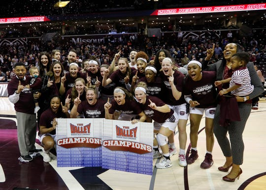 The Missouri State Lady Bears celebrate their 85-70 win over Valparaiso to win the Missouri Valley Conference at JQH Arena on Thursday, March 5, 2020.