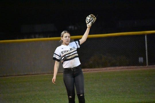 Desert Hills' JV softball team takes on Springville on March 5, 2020.