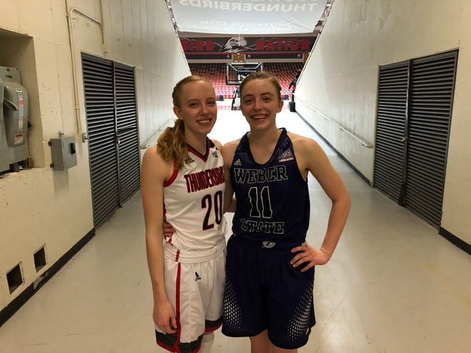 Maddy Eaton (left) and Liz Graves (right) are sisters on rival Big Sky teams. The two will play themselves for the third time this season in the Big Sky Conference Tournament.