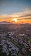 Oak Park at sunset Thursday as seen from Ventura County Sheriff's Air Squad 8 helicopter, which helped search for a man who reportedly grabbed a teenager walking on a trail.